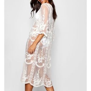Embroidered Lace Bohemian Beach Coverup - White